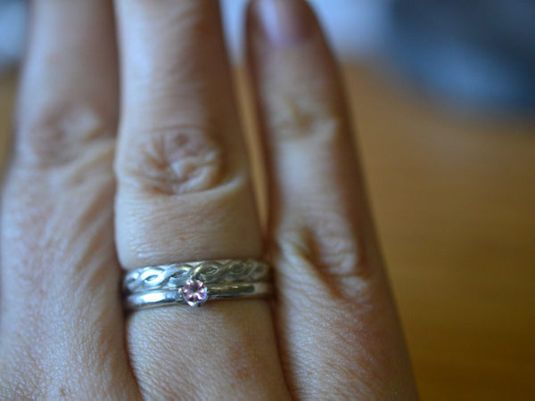 Dainty Pink Sapphire Engagement Ring & Celtic Wedding Band