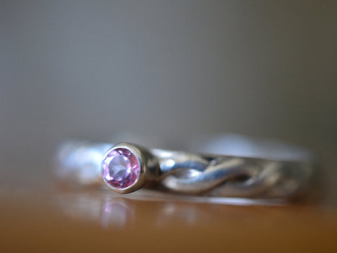 Women's Celtic Style Pink Topaz Engagement Ring in Silver