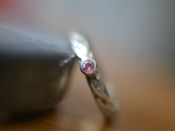 Women's Sterling Silver Braid Ring with Pink Topaz
