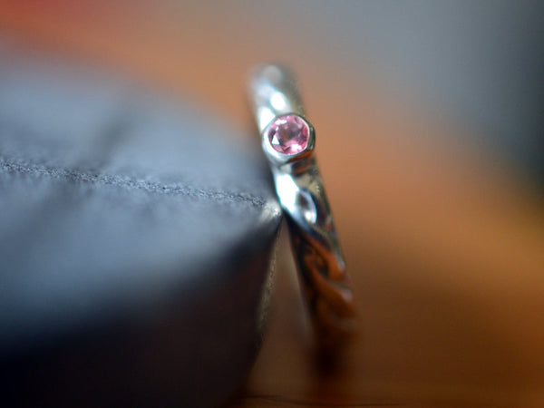Tiny Pink Topaz Engagement Ring in Celtic Style Silver