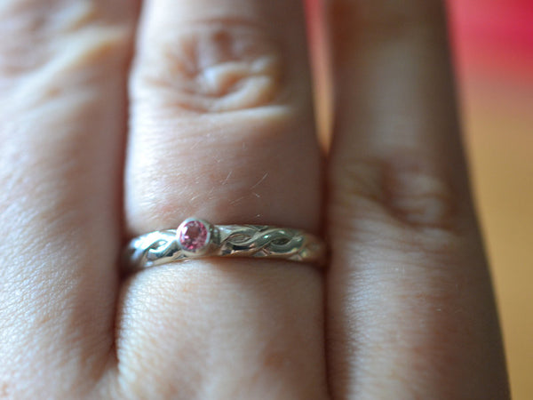 Customised Celtic Style Pink Topaz Engagement Ring in Silver