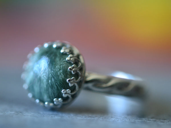 Women's Natural Seraphinite Statement Ring In Sterling Silver