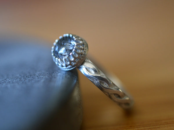 6mm Natural Tourmalated Quartz Engagement Ring in Silver