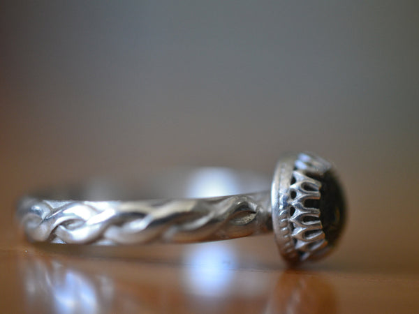 Custom Engraved Sterling Silver & Tourmalinated Quartz Ring