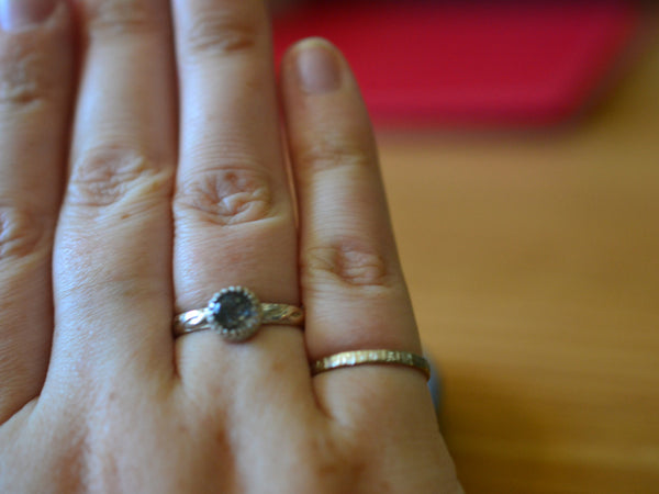 Natural Black Needle Quartz Engagement Ring in Celtic Silver