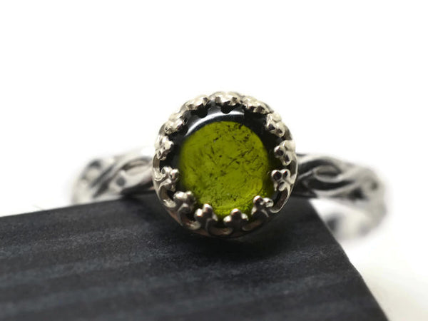 Sterling Silver Celtic Inspired Green Tourmaline Ring