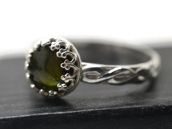 Handforged Green Tourmaline Celtic Inspired Ring