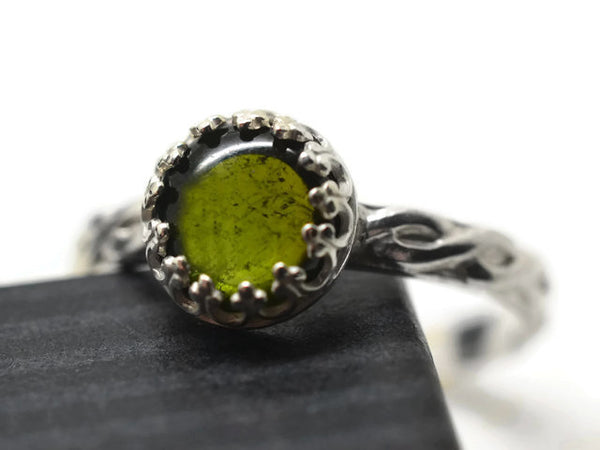 Silver Celtic Style Green Tourmaline Ring