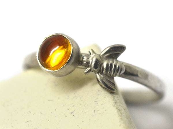 5mm Citrine & Sterling Silver Honey Bee Ring