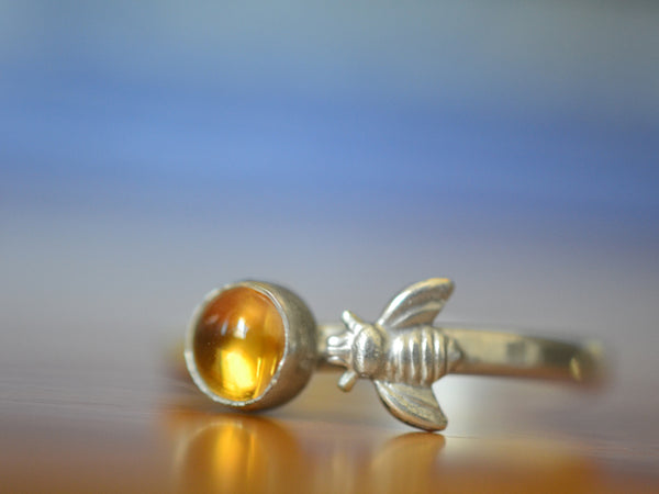 Dainty Sterling Silver Honey Bee & Citrine Gemstone Ring