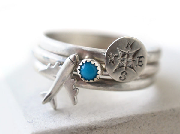 Airplane, Compass & Turquoise Stacking Ring Set in Silver