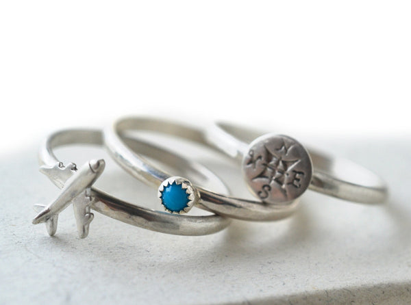 Tiny Turquoise, Silver Plane & Compass Rose Stacking Ring Set