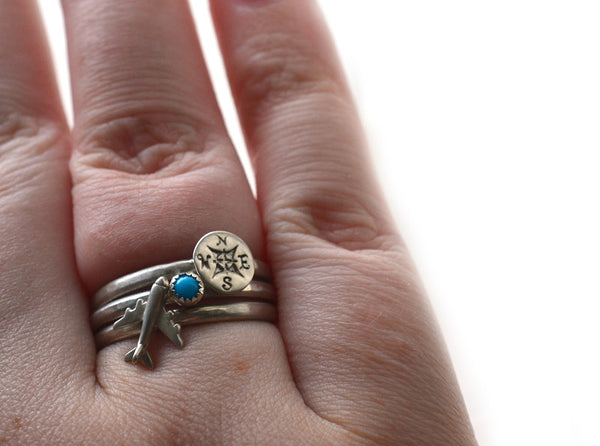 Silver Compass Rose, Airplane & Turquoise Stacking Set