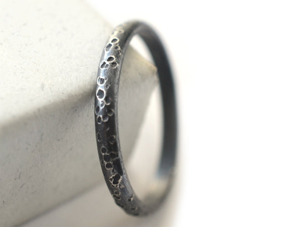 Oxidized Silver Concrete Textured Wedding Band