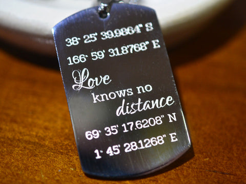 Stainless Steel Custom Coordinates Dog Tag Necklace