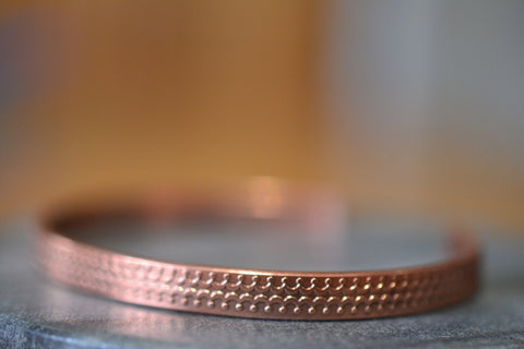 Adjustable Copper Cuff with Crown Pattern