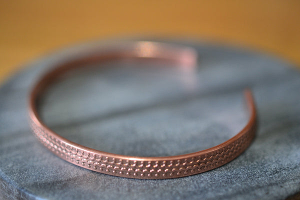 Women's Adjustable Copper Cuff with Crown Pattern