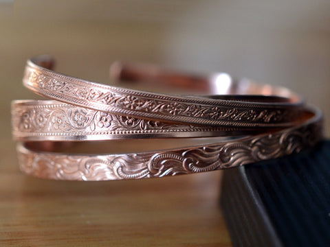 Handmade Floral Patterned Pure Copper Cuff Set of Three