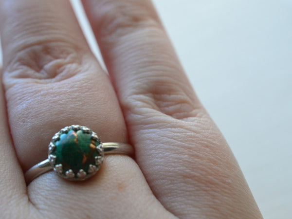 Simple Crown Set Copper Malachite Ring in Sterling Silver