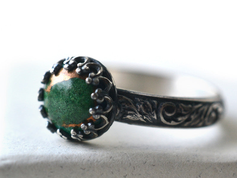 Oxidized Floral Silver 8mm Copper Malachite Ring