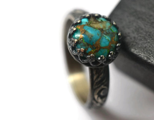Handmade Renaissance Style Sterling Silver Copper Turquoise Ring