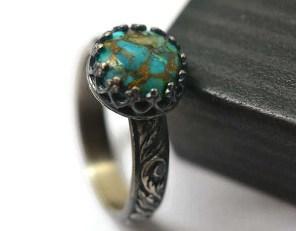 Handmade Floral Silver Copper Turquoise Ring