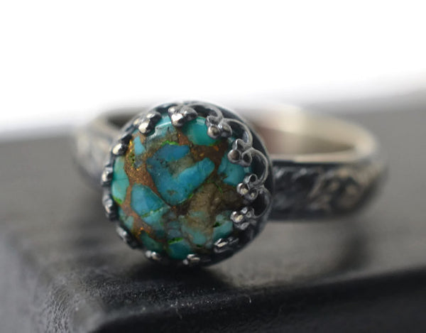 Handmade Floral Silver & Copper Turquoise Statement Ring