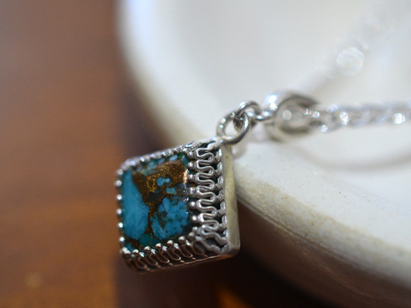 Square Copper Turquoise Gemstone Necklace in Silver