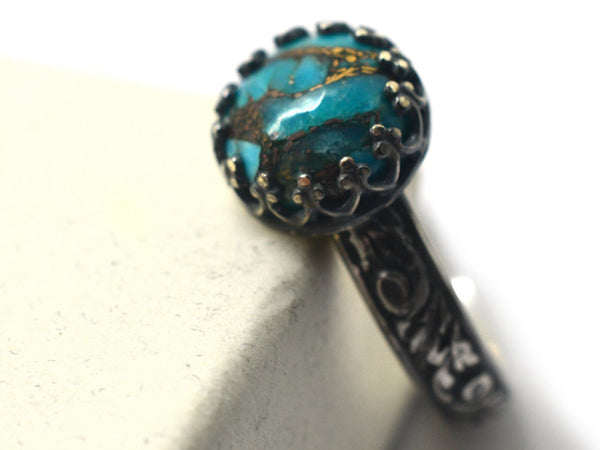 Handmade Sterling Silver & Copper Turquoise Engagement Ring