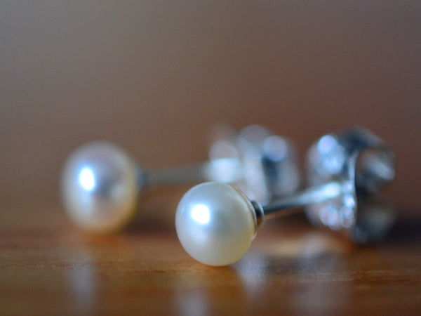 Cream Freshwater Pearl Post Earrings in Sterling Silver