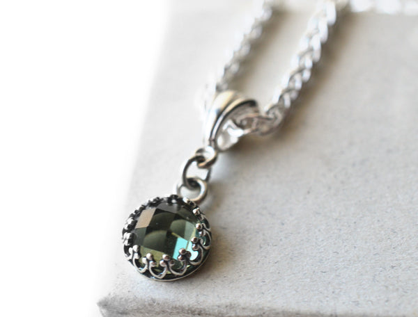 Dainty 8mm Green Spinel Necklace with Silver Chain