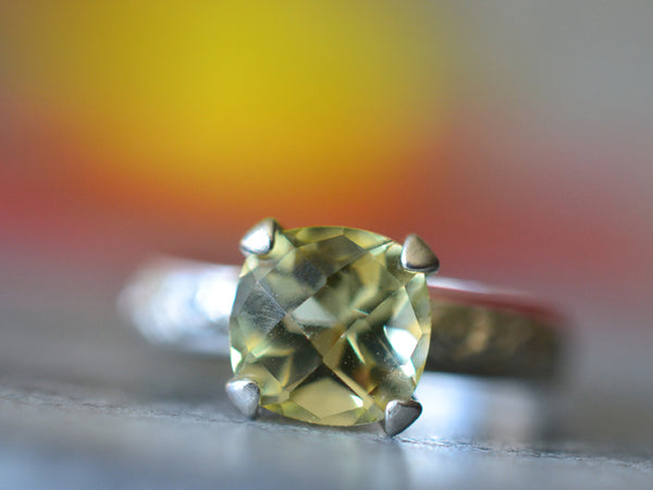 Cushion Cut 8mm Yellow Citrine Engagement Ring For Women