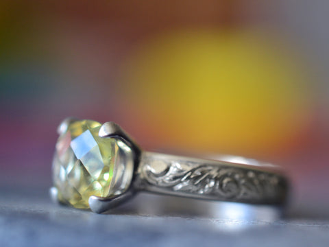 Engravable Citrine Engagement Ring in Floral Sterling Silver