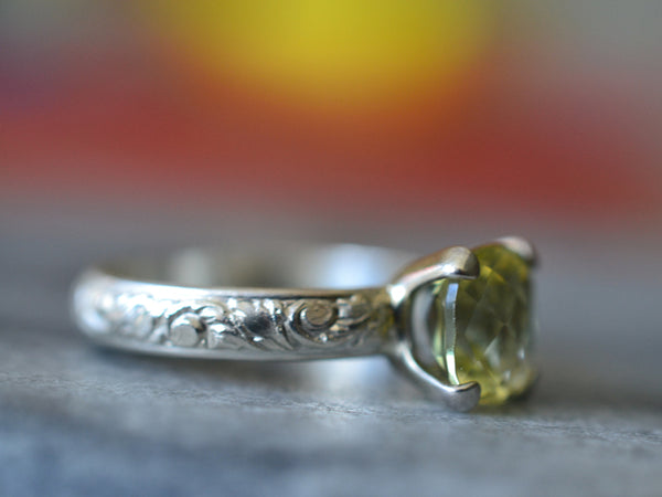 Art Nouveau Inspired Citrine Engagement Ring in Sterling Silver