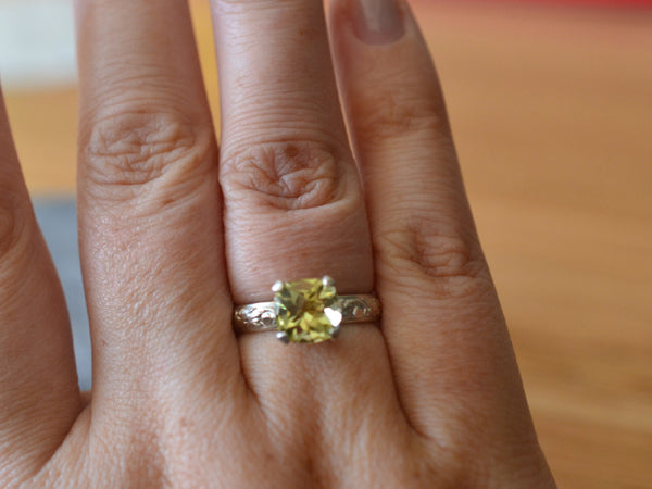 Women's Personalised Citrine Statement Ring in Sterling Silver