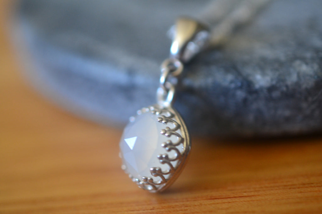 Cushion Cut White Onyx Bezel Necklace in Sterling Silver