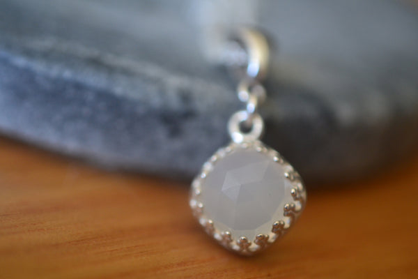 10mm White Onyx Gemstone Pendant in Sterling Silver Bezel
