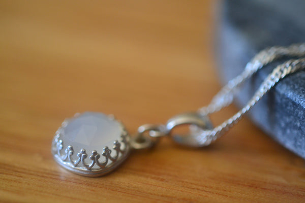 Cushion Cut White Onyx Gemstone Pendant With Silver Chain