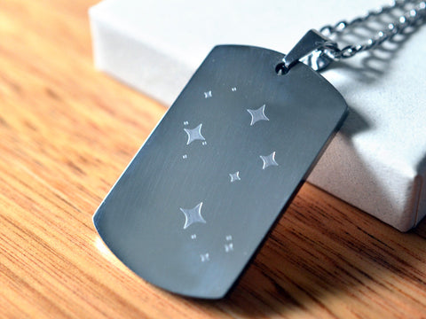 Engraved Stainless Steel Dog Tag Southern Cross Necklace