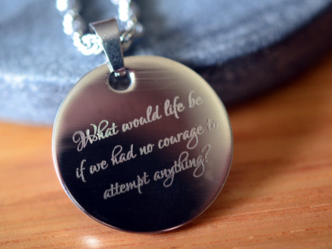 Inspirational Engraved Stainless Steel Dog Tag Necklace