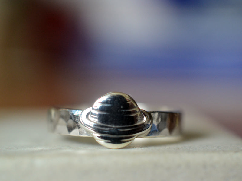 Customised Sterling Silver Planet Charm Ring