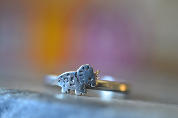 Dainty Little Triceratops Dinosaur Charm Ring For Women