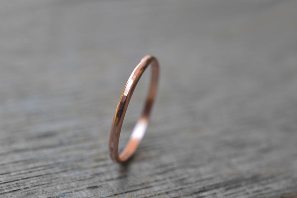 Handmade 10K Rose Gold Stacking Band With Hammered Finish