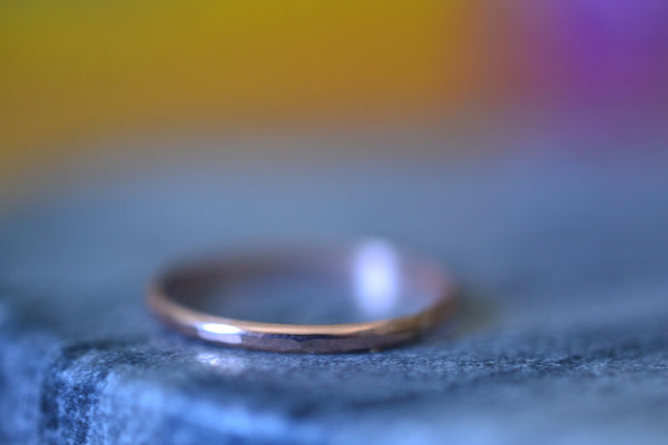 Simple 10ct Rose Gold Thread Ring With Hammered Finish