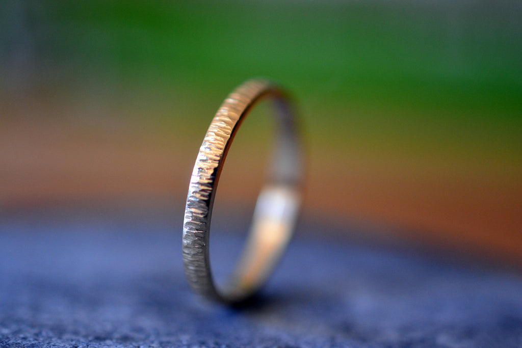 Dainty 14ct Yellow Gold Birch Bark Promise Ring