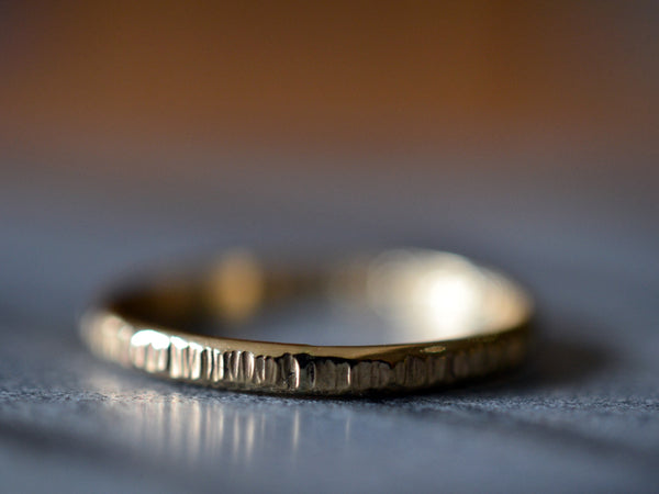 Custom Engraved 18ct Yellow Gold Ring with Hammered Finish