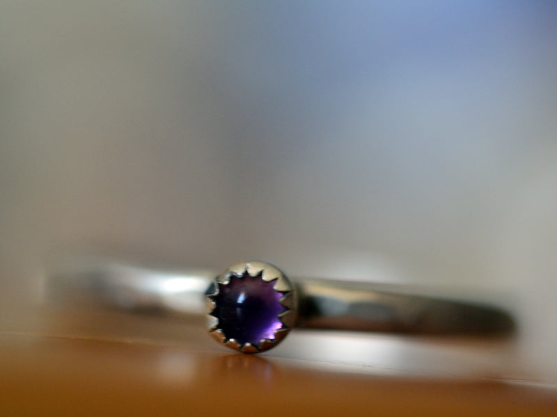 Dainty Sterling Silver & Natural Amethyst Stack Ring
