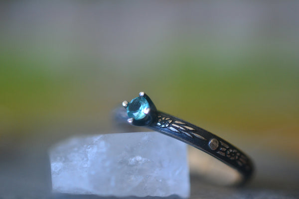 Women's Dainty Blue Apatite Promise Ring in Oxidised Silver