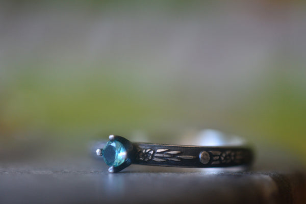 Tiny 3mm Blue Apatite Gemstone Ring in Oxidised Silver