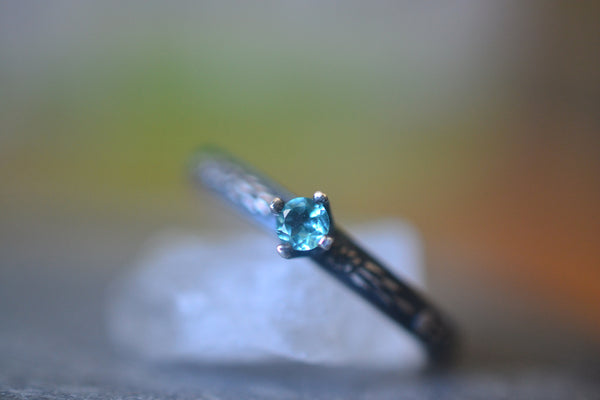 Natural Blue Apatite Ring With Dainty Floral Band